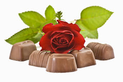 Chocolate and roses Royalty Free Stock Photo