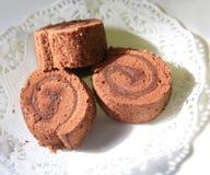 Chocolate roulade stock photos
