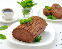 Chocolate roulade with mint Royalty Free Stock Image