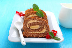 Chocolate roulade with red berry Royalty Free Stock Image
