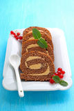 Chocolate roulade with red berry Stock Photography