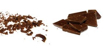 Chocolate sólido y rallado Foto de archivo