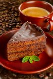 Chocolate sacher cake Stock Photos