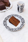 Chocolate sacher cake Stock Photo