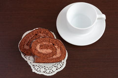Chocolate sacher cake on wooden table. See my other works in portfolio Royalty Free Stock Image
