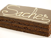 Chocolate Sacher do bolo Fotos de Stock Royalty Free
