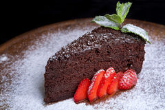 Chocolate Sacher with strawberries Stock Images