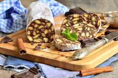 Chocolate salami with biscuits. Stock Images