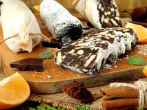 Chocolate salami. Dessert made of biscuits, chocolate and nuts Royalty Free Stock Photo