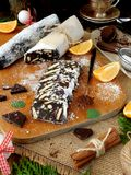 Chocolate salami. Dessert made of biscuits, chocolate and nuts Royalty Free Stock Photography