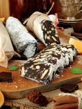 Chocolate salami. Dessert made of biscuits, chocolate and nuts Stock Images