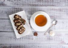 Chocolate salami with earl grey tea Stock Photos