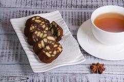 Chocolate salami with earl grey tea Stock Image