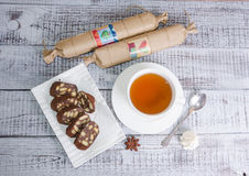 Chocolate salami with earl grey tea Stock Photography