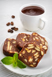 Chocolate salami with hot chocolate Royalty Free Stock Image