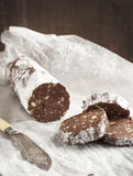Chocolate salami. Slices of chocolate salami. italian traditional dessert royalty free stock images