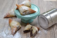 Chocolate samosas. Chocolate mini samosas ready to eat Stock Photo
