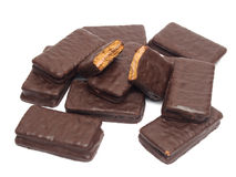 Chocolate sandwich biscuit Royalty Free Stock Images