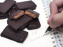 Chocolate sandwich biscuit Royalty Free Stock Image