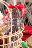Chocolate santa in a gift basket close-up Stock Photo