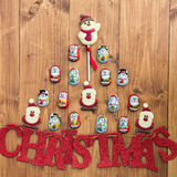 Chocolate Santas, Snowman and Biscuits and Letters Christmas Stock Photography