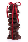 Chocolate with  satin ribbon Royalty Free Stock Photo