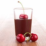 Chocolate sauce and cherry Royalty Free Stock Image