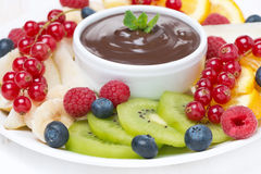 Chocolate sauce, fresh fruit and berries, selective focus Stock Photography