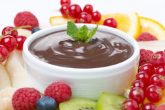 Chocolate sauce and fresh fruit Stock Image