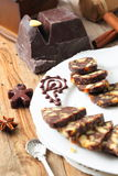 Chocolate sausage with decorations Royalty Free Stock Photography