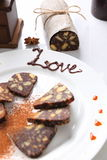 Chocolate sausage with decorations Stock Image