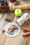 Chocolate sausage with decorations Royalty Free Stock Image