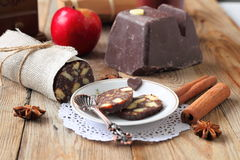 Chocolate sausage with decorations Royalty Free Stock Photo