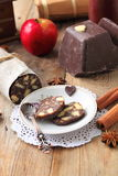 Chocolate sausage with decorations Royalty Free Stock Images