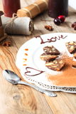 Chocolate sausage with decorations Royalty Free Stock Photos