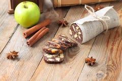 Chocolate sausage with decorations Stock Photos