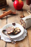 Chocolate sausage with decorations Stock Images