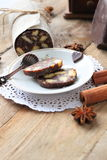 Chocolate sausage with decorations Stock Photography