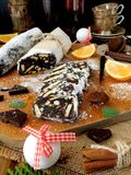 Chocolate sausage. Dessert made of biscuits, chocolate and nuts Stock Images
