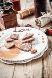 Chocolate sausage on a wooden table Stock Photo