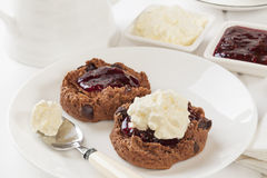 Chocolate Scones with Jam and Cream Stock Photos