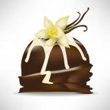 Chocolate scoop of ice cream with vanilla Stock Image
