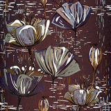Chocolate seamless pattern with tulips Stock Images