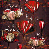 Chocolate seamless pattern with tulips Royalty Free Stock Photography