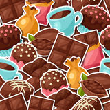 Chocolate seamless pattern with various tasty Stock Photography