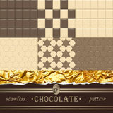 Chocolate. 6 seamless patterns. Vector Illustration Royalty Free Stock Images