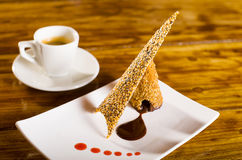 Chocolate and Sesame Seed wafer dessert Stock Image