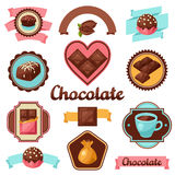 Chocolate set of badges and labels with various Stock Photo