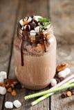 Chocolate shake with sauce and marshmallows Stock Photos
