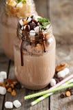 Chocolate shake with sauce and marshmellows Stock Photography